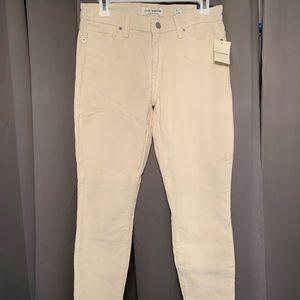 Skinny Mid Rise Birch White Corduroy Pants